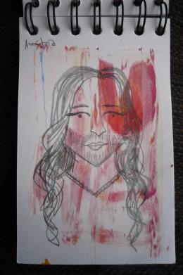 sketch of Conchita Wurst representing Austria