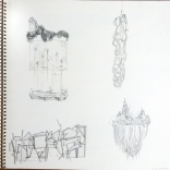 my sketches of lee bul installation at ikon gallery