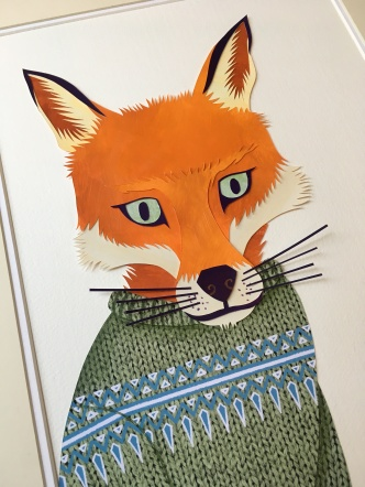 cut-paper collage fox by chris cowdrill