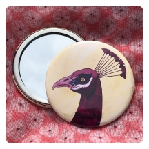 peacock mirror - pink by chris cowdrill