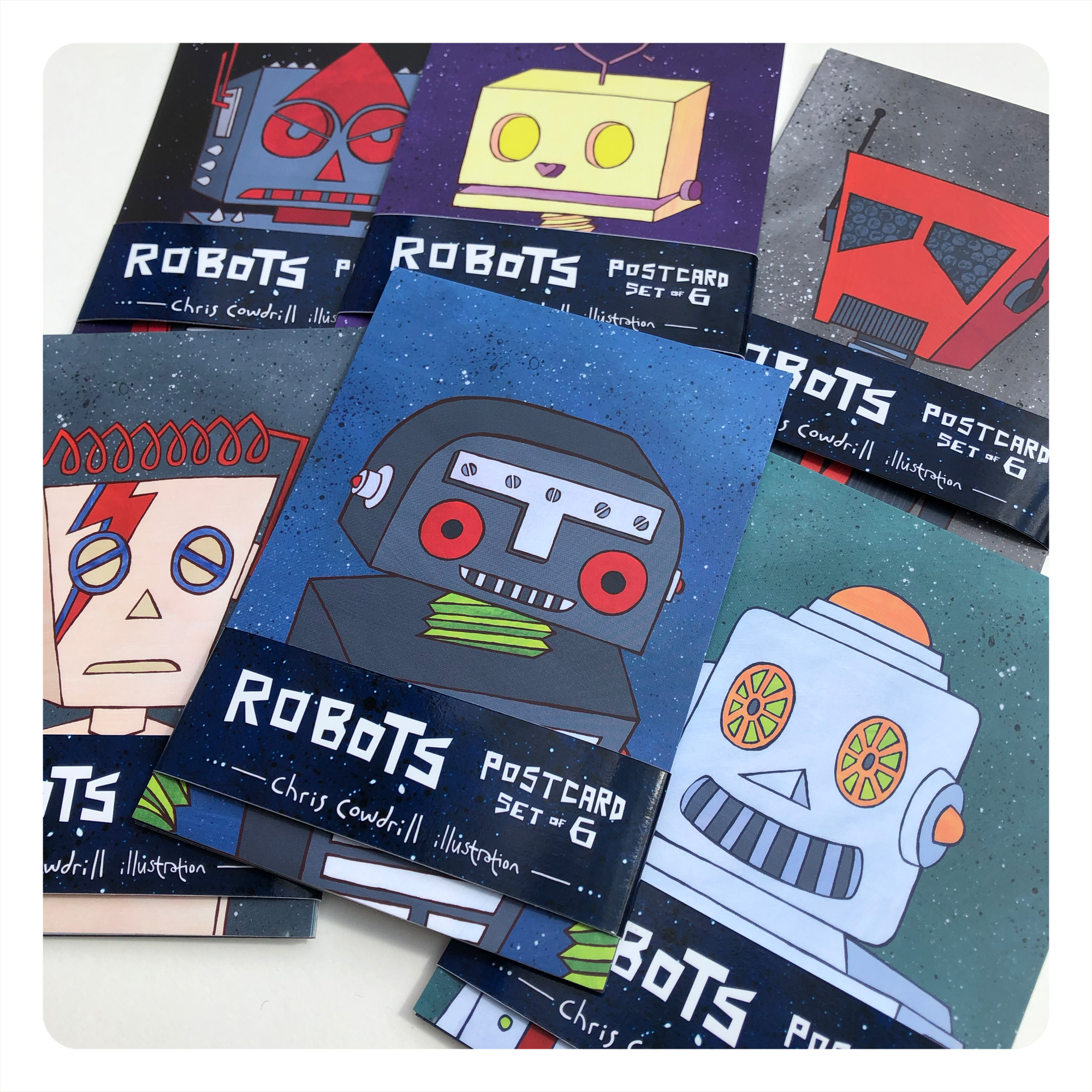 retro robot set of 6 postcards by chris cowdrill