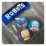 retro robot badges by chris cowdrill