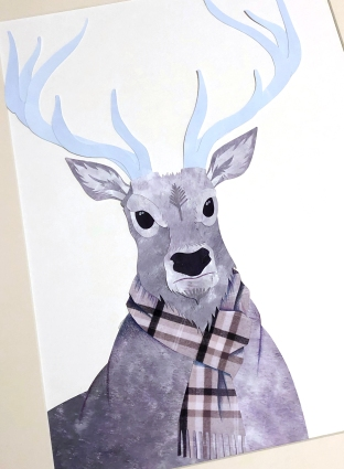 reindeer (cut-paper collage) by chris cowdrill
