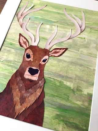 stag (cut paper collage) by chris cowdrill