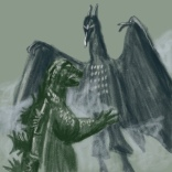 godzilla vs. rodan sketch by chris cowdrill