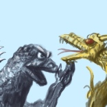 godzilla vs. king ghidorah sketch by chris cowdrill