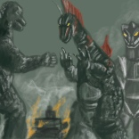 godzilla vs. titanosaur and mechagodzilla sketch by chris cowdrill