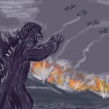 godzilla sketch by chris cowdrill